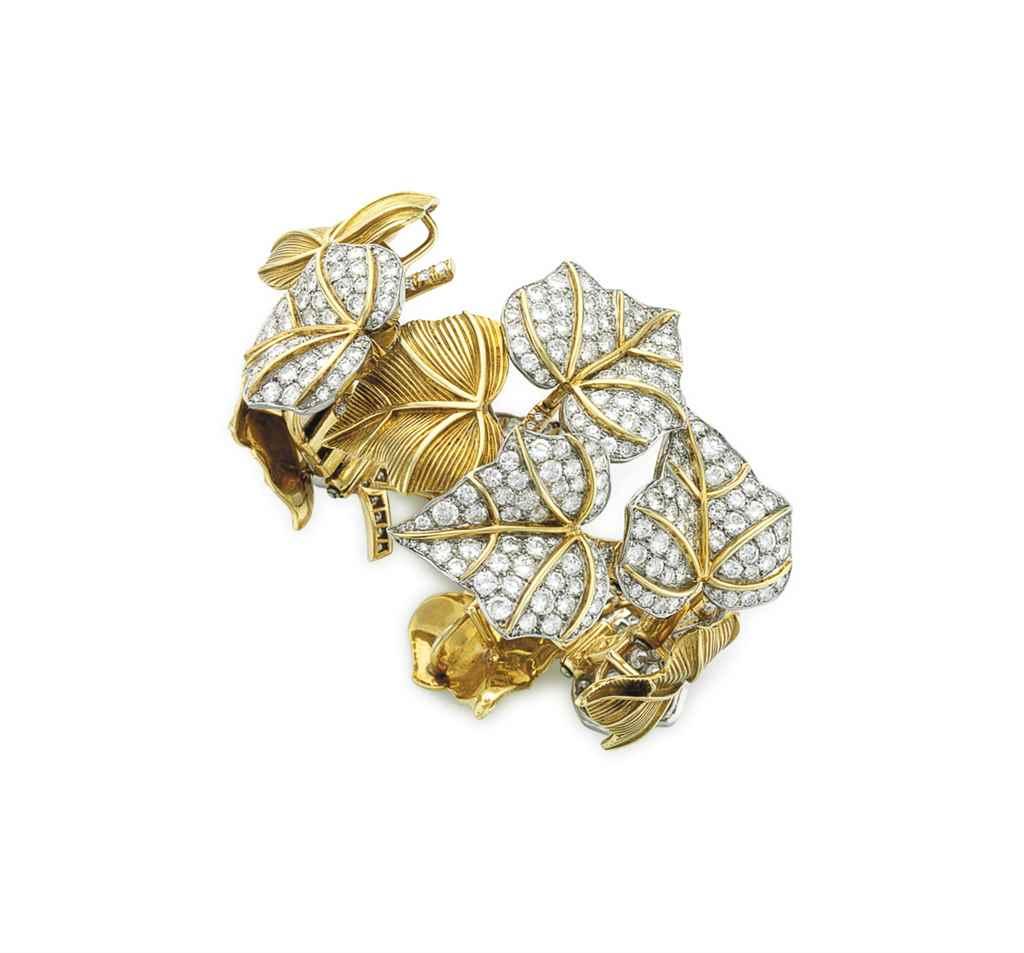 A DIAMOND AND GOLD FOLIATE BRA