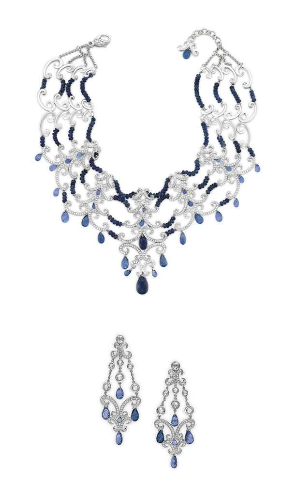 A SET OF SAPPHIRE, DIAMOND AND