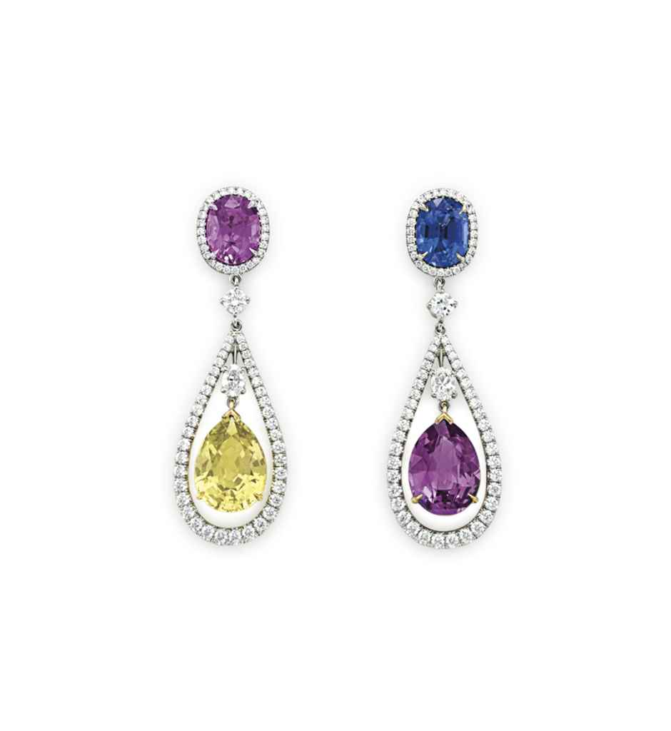 A PAIR OF COLORED SAPPHIRE AND