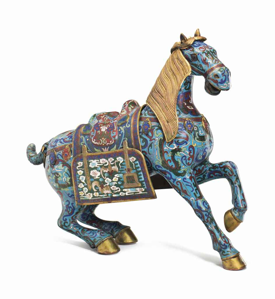 A CHINESE CLOISONNE ENAMEL FIG