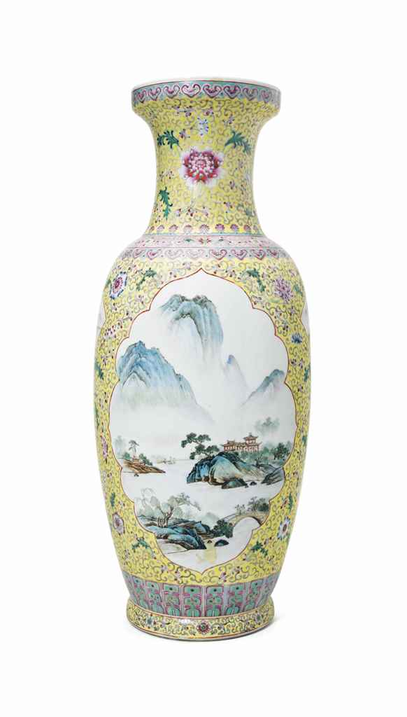 A CHINESE FAMILLE JAUNE VASE
