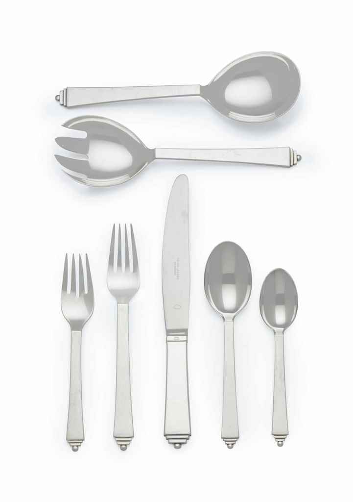 A DANISH SILVER PART FLATWARE