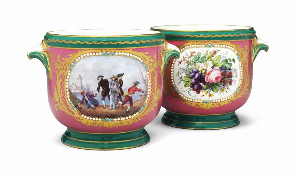 A PAIR OF SEVRES STYLE PORCELA