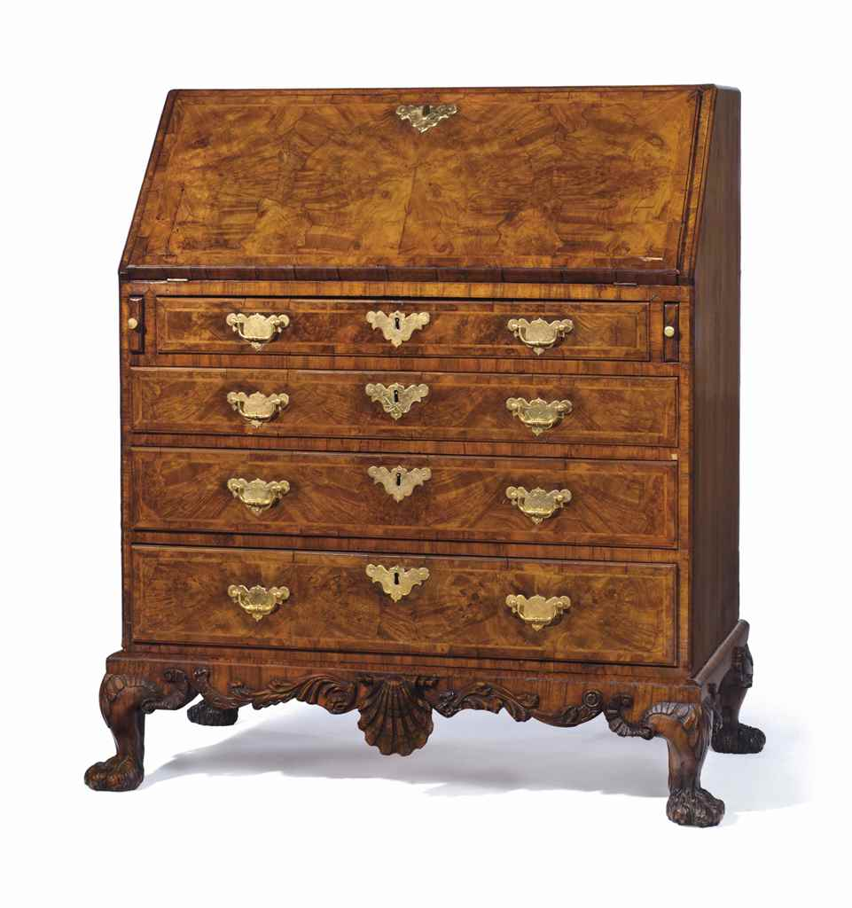 A GEORGE II BURR WALNUT AND WA
