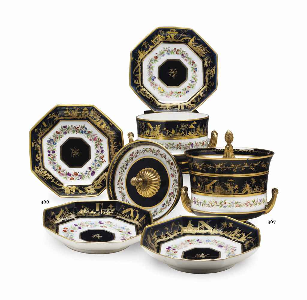 FOUR SEVRES PORCELAIN BLACK-GR