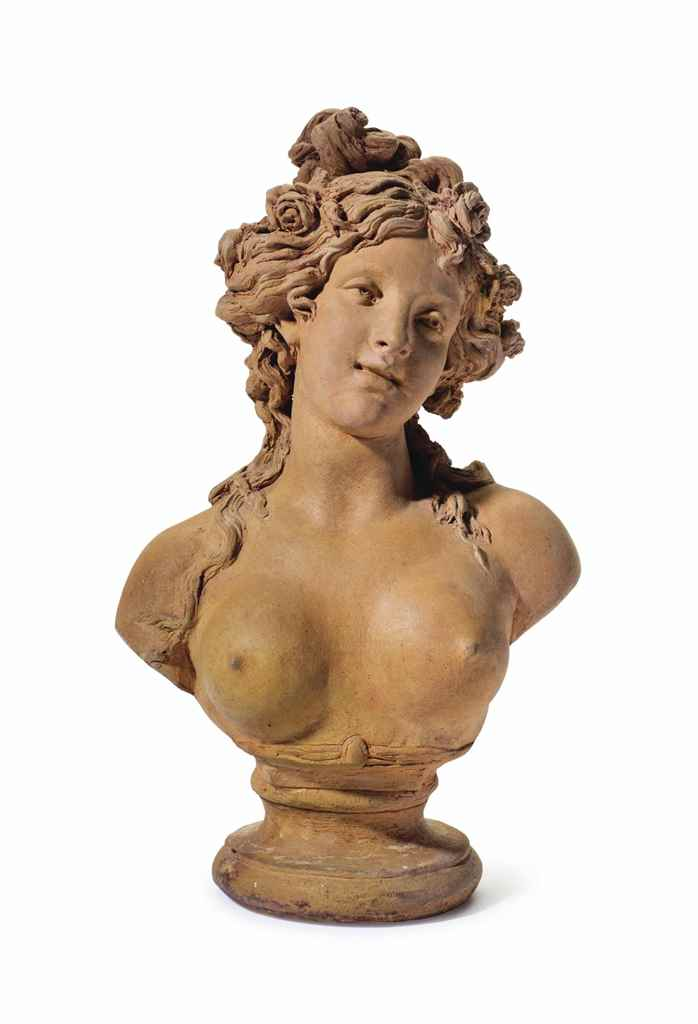 A FRENCH TERRACOTTA BUST OF A