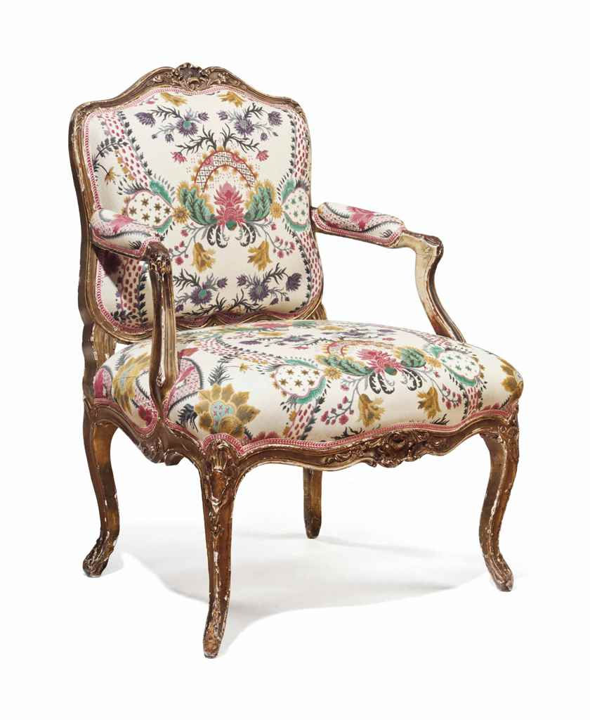 A LOUIS XV GILTWOOD FAUTEUIL