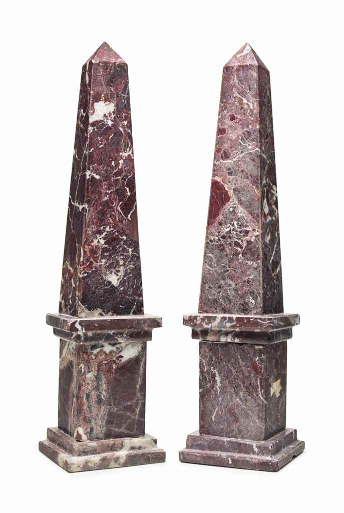 PAIR OF RED FIGURED MARBLE OBE