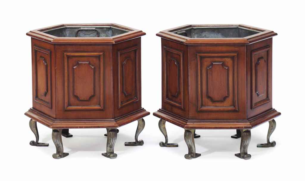 A PAIR OF ENGLISH MAHOGANY JAR