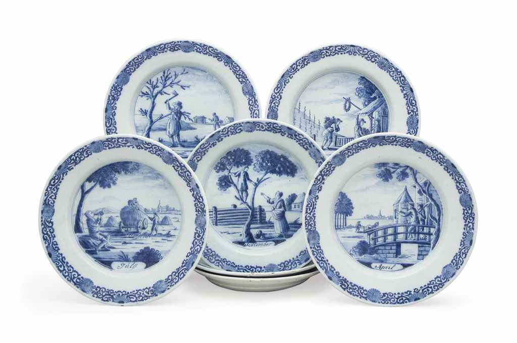 SEVEN DUTCH DELFT BLUE AND WHI