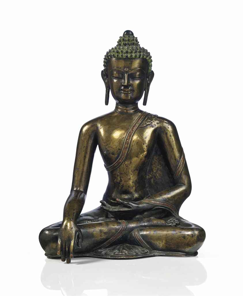 rare statue de bouddha shakyamuni en bronze tibet. Black Bedroom Furniture Sets. Home Design Ideas