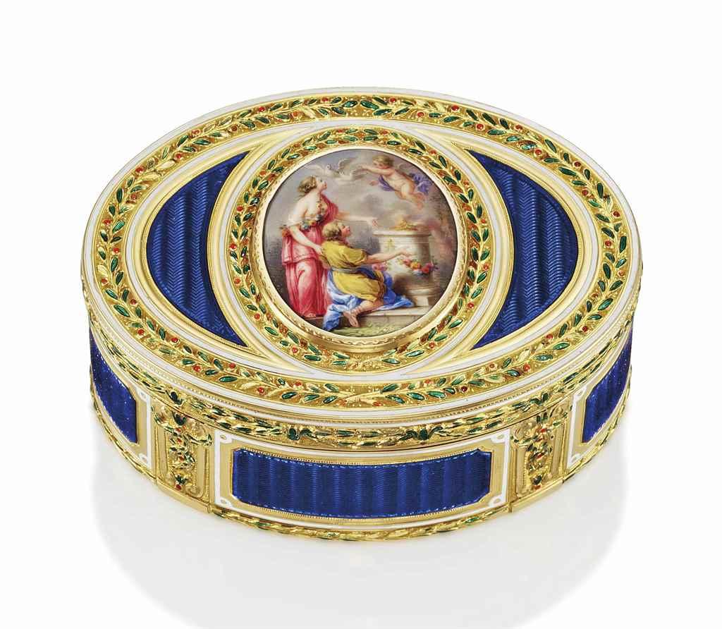 A LOUIS XVI ENAMELLED GOLD SNU