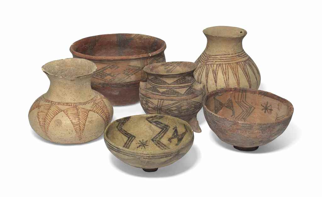 SIX IRANIAN POTTERY VESSELS