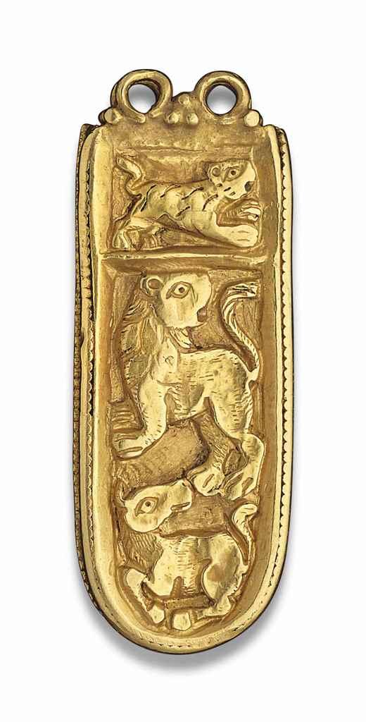 A BYZANTINE GOLD STRAP END