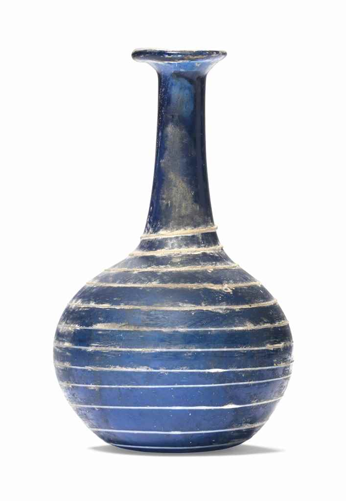 A ROMAN COBALT BLUE GLASS BOTT