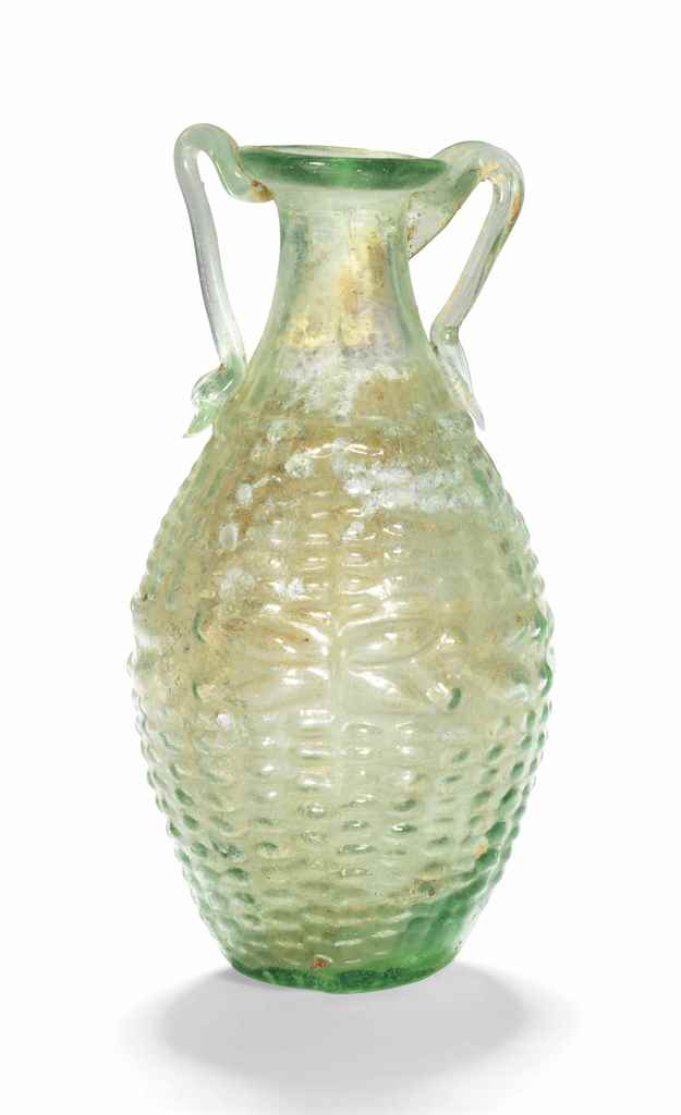 A ROMAN GREEN GLASS AMPHORISKO