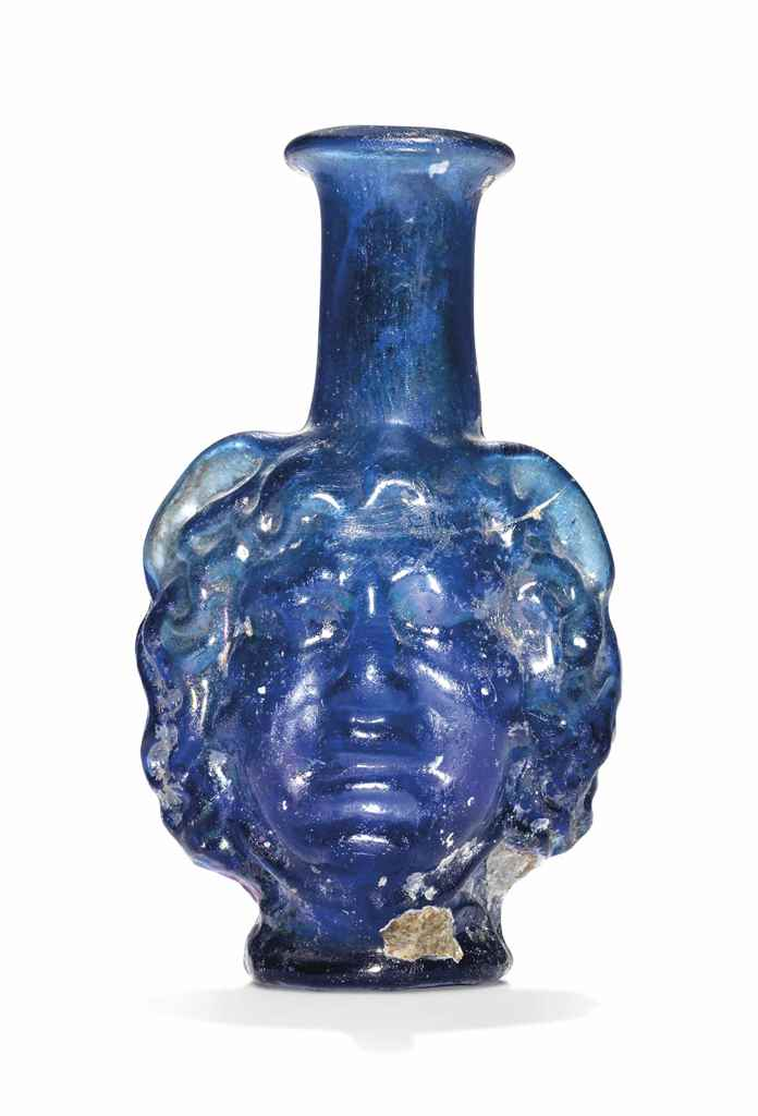 A ROMAN COBALT BLUE GLASS MEDU