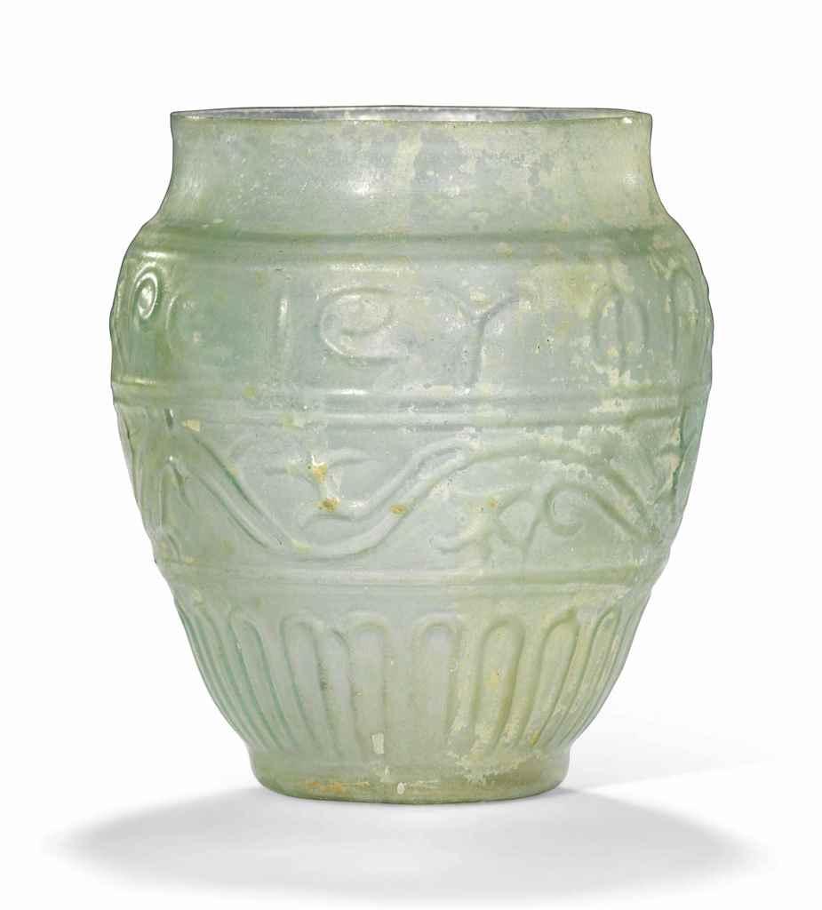 A ROMAN COLOURLESS GLASS BEAKE