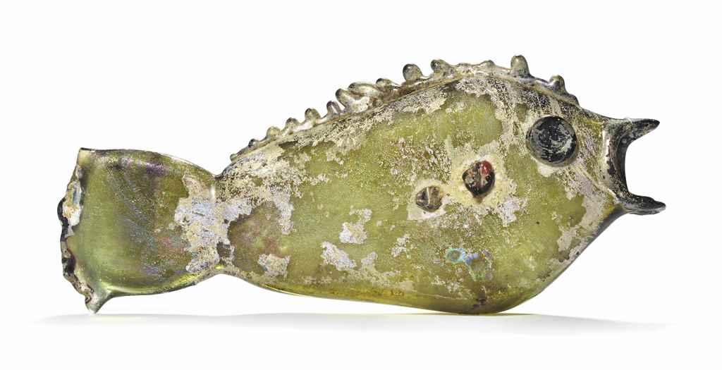 A ROMAN GLASS FISH FLASK