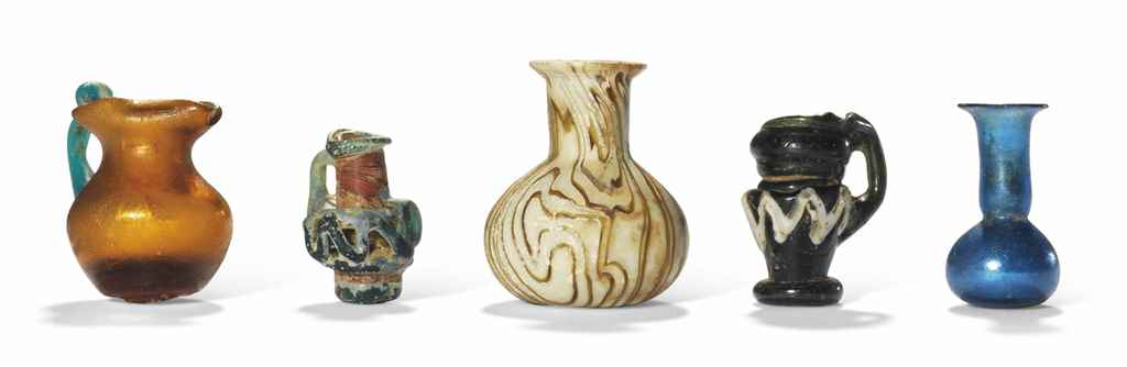 FIVE ROMAN MINIATURE GLASS VES