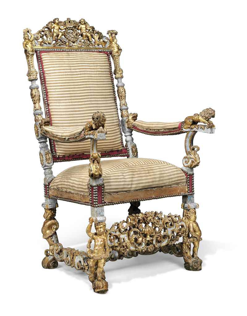 A WILLIAM & MARY PARCEL-GILT A