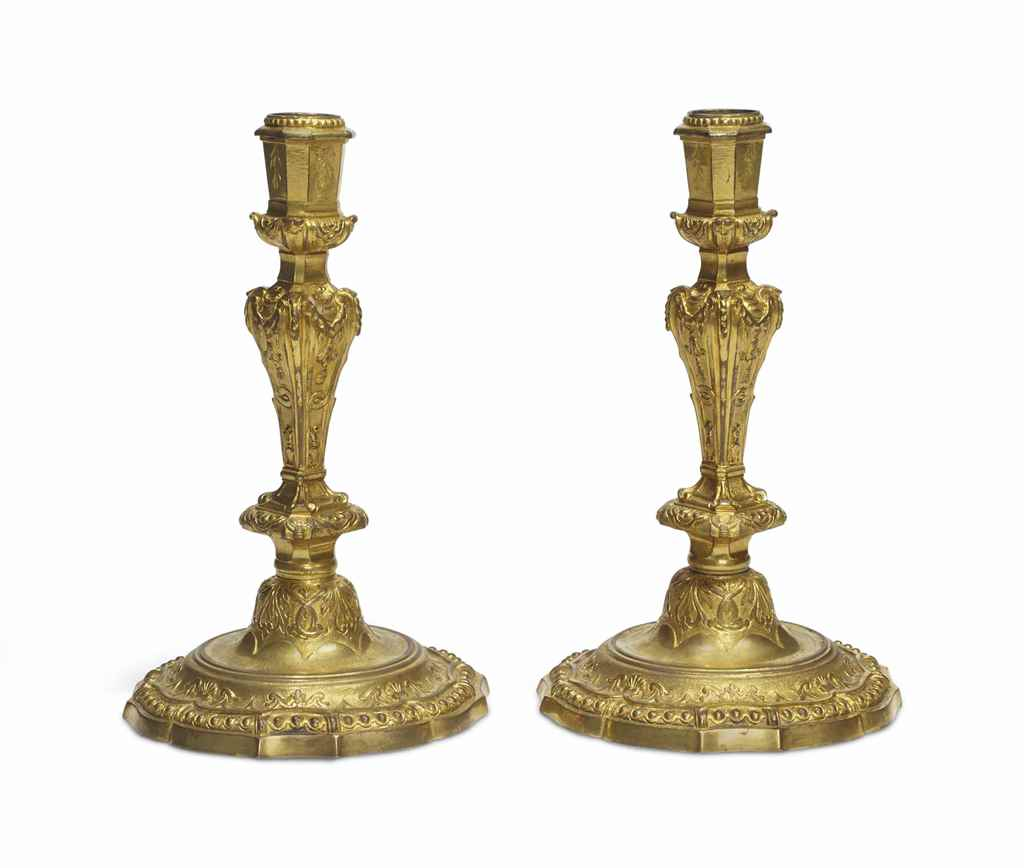 A PAIR OF LOUIS XIV ORMOLU CAN