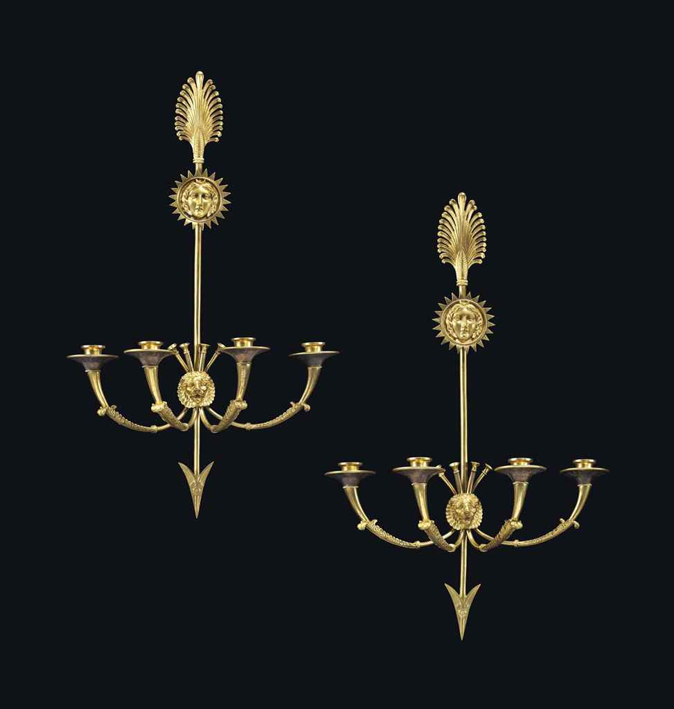 A PAIR OF EMPIRE ORMOLU FOUR-B