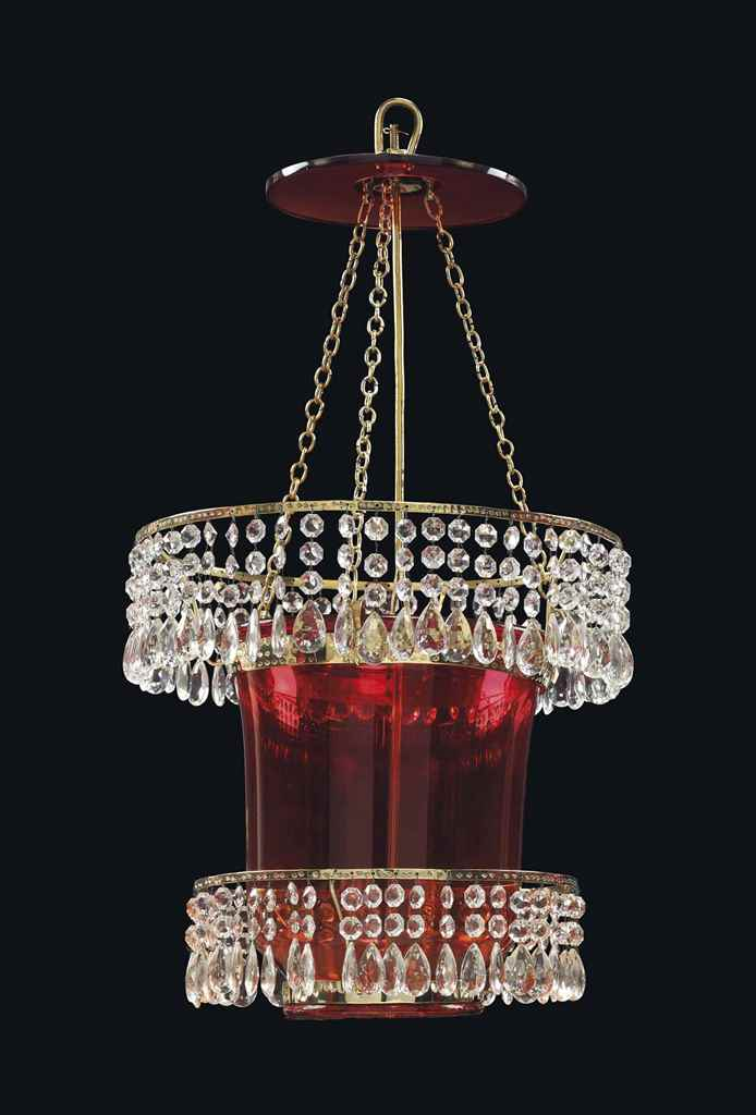 A RUSSIAN ORMOLU, RUBY GLASS A