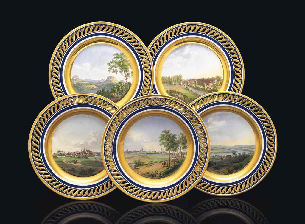 FIVE MEISSEN TOPOGRAPHICAL PIE
