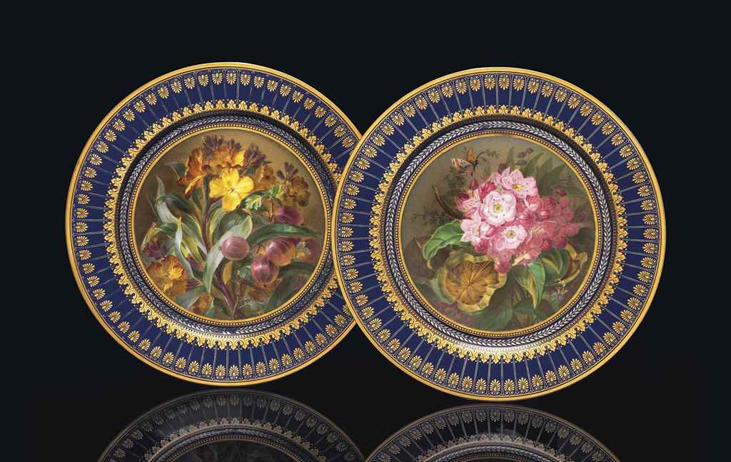 TWO SEVRES (HARD PASTE) BLUE-G