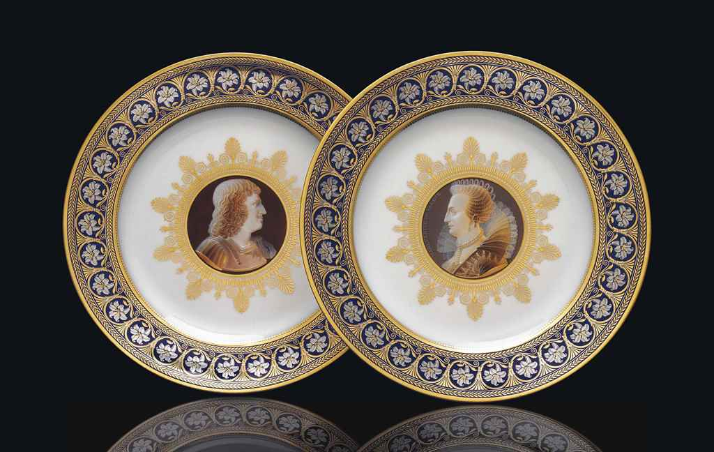 TWO SEVRES ROYAL PORTRAIT CAME