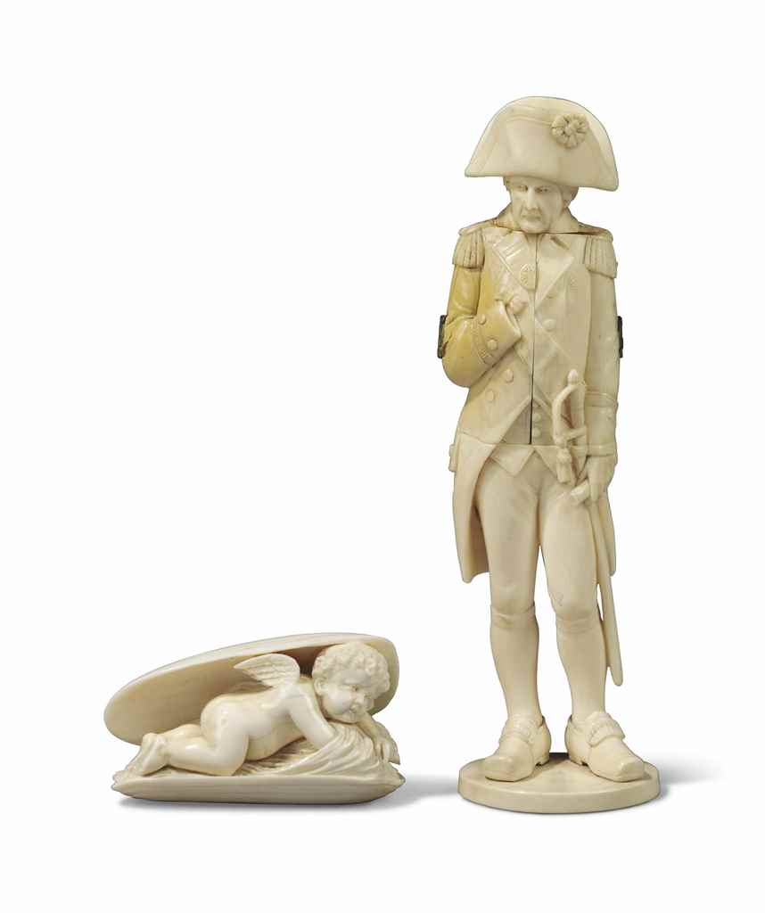 A DIEPPE IVORY STATUETTE OF AD
