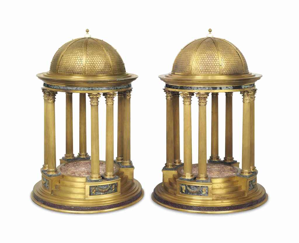 A PAIR OF ITALIAN ORMOLU AND M