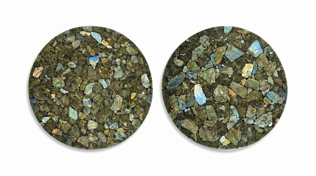 A PAIR OF LABRADORITE VENEERED