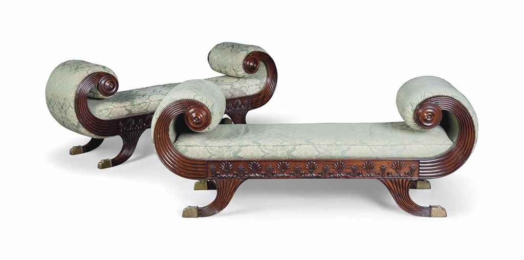 A PAIR OF UPHOLSTERED MAHOGANY