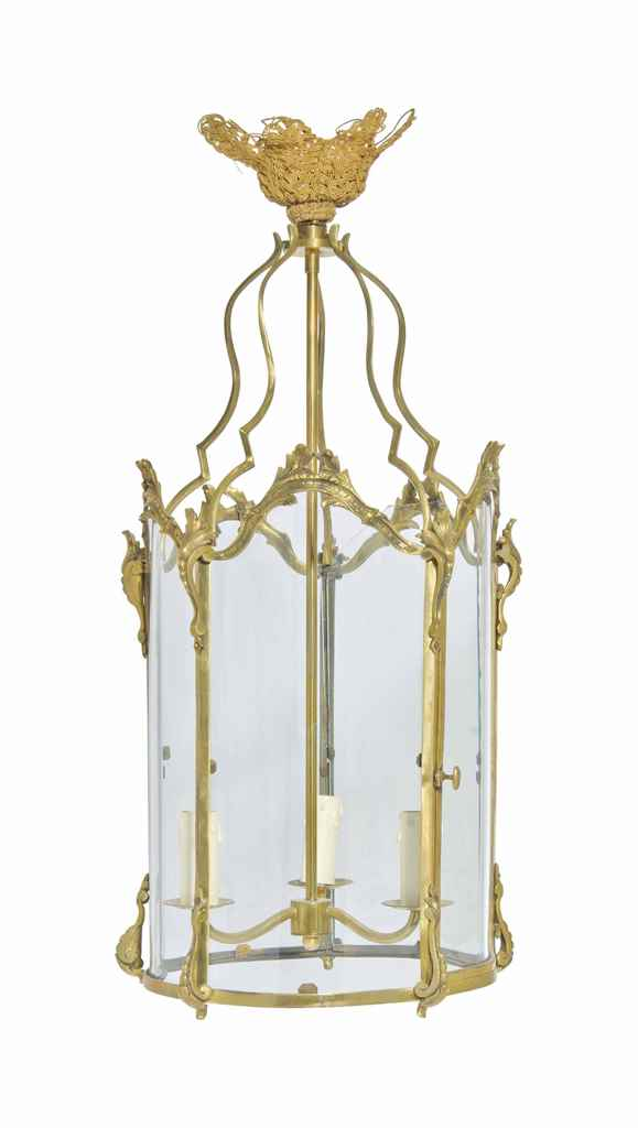 A FRENCH GILT-BRASS HALL LANTE