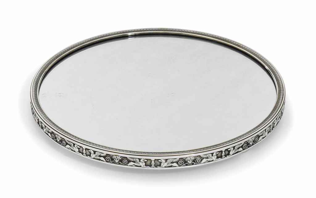 A FRENCH SILVER MIRROR-PLATEAU