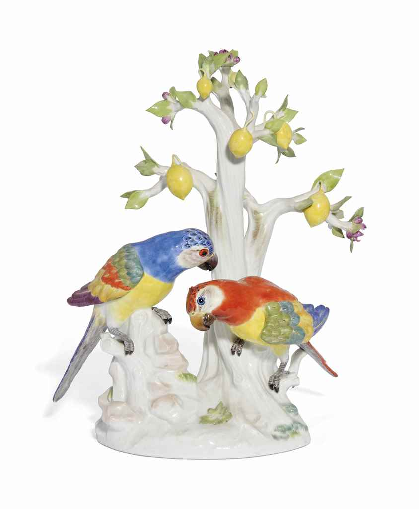 A MEISSEN GROUP OF PARROTS UND