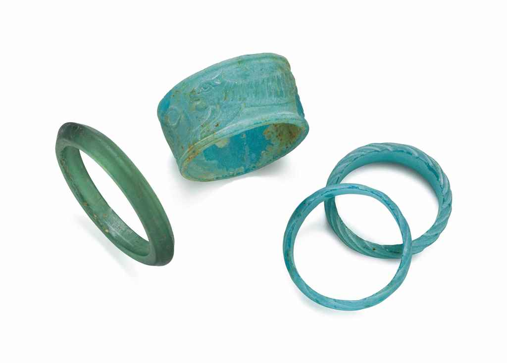 FOUR MOLDED GREEN AND TURQUOIS