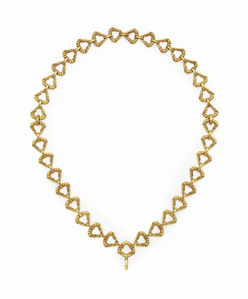 A FRENCH 18K YELLOW GOLD NECKL