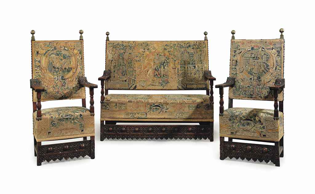 A SET OF WALNUT AND TAPESTRY S