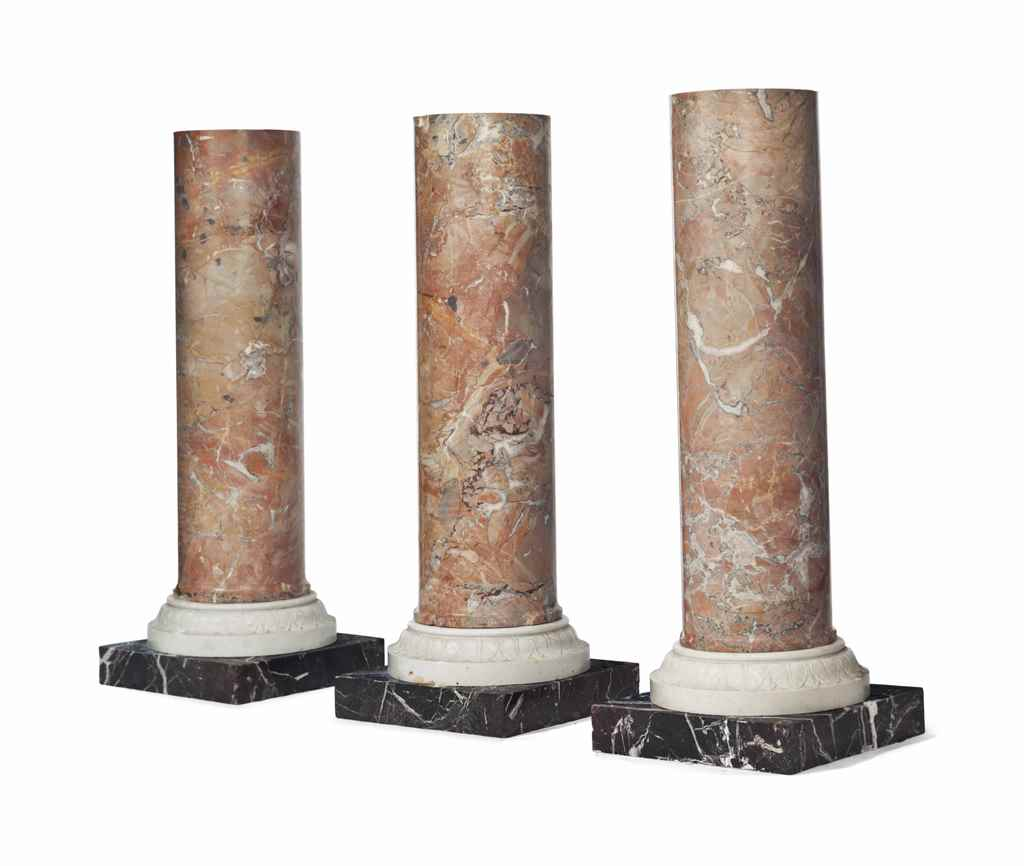A GROUP OF THREE MARBLE PEDEST