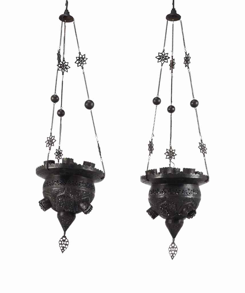 A PAIR OF CAIROWARE HANGING LA