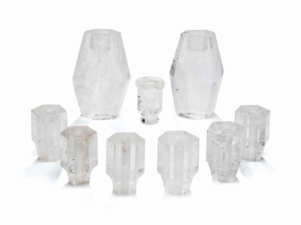 A GROUP OF NINE ROCK CRYSTAL C