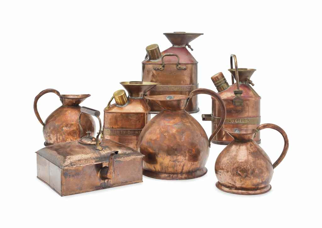 A GROUP OF SEVEN COPPER VESSEL
