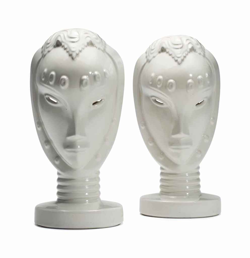 A PAIR OF AMERICAN WHITE-GLAZE