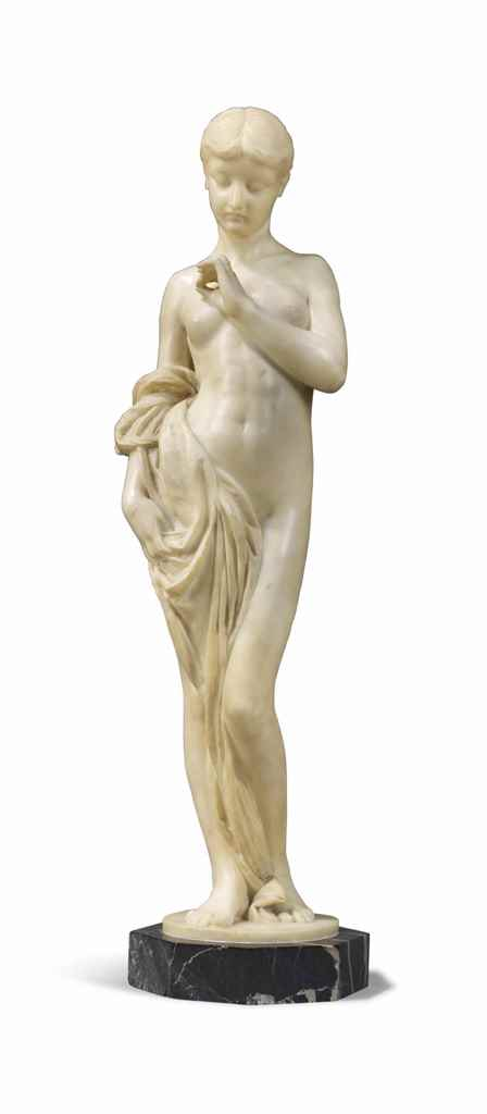 A MARBLE FIGURE OF A YOUNG WOM