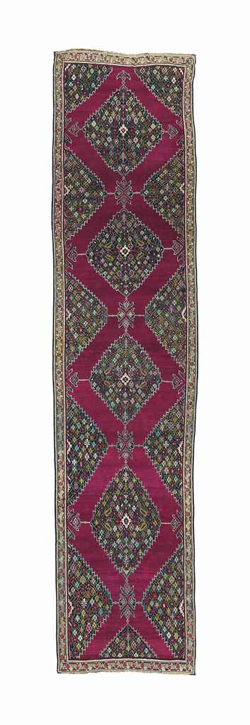 AN ANTIQUE KARABAGH RUNNER, SO