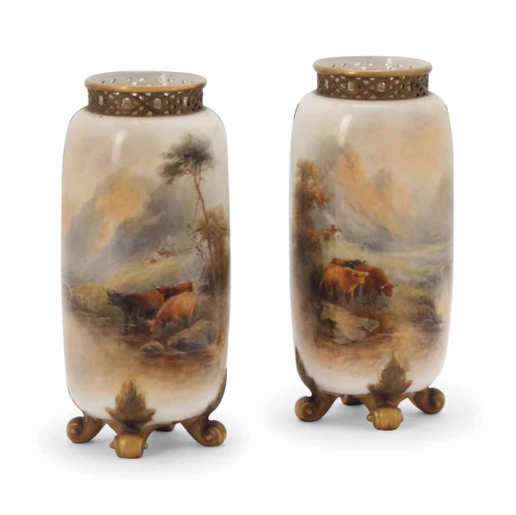 A PAIR OF CYLINDRICAL VASES BY
