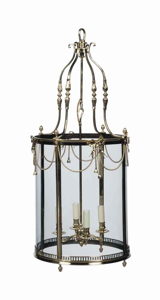 AN ENGLISH BRASS HALL LANTERN
